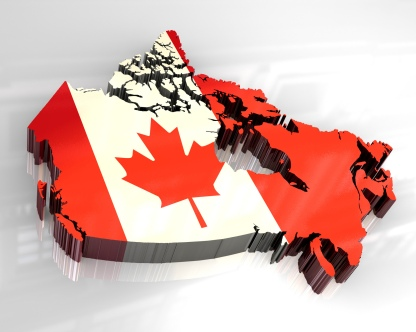 3d flag map of canada